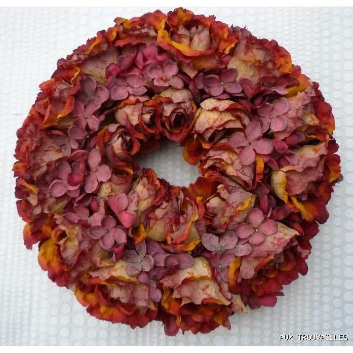 Couronne de fleurs hortensias roses artificiels achat for Achat de fleurs