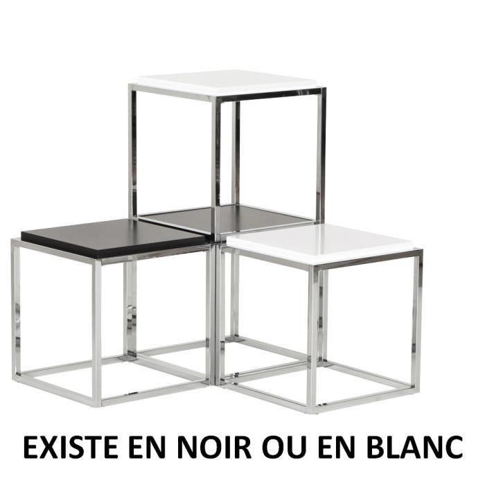 Mul lot de 3 cube de rangement noir empilable achat vente petit meubl - Cube de rangement noir laque ...