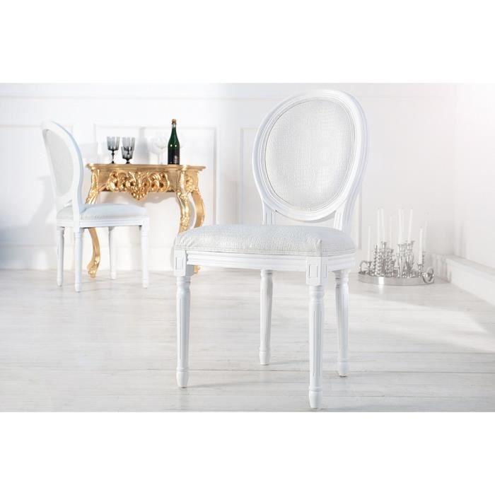 Chaise baroque blanche style croco m daillon blanc achat vente chaise bla - Chaise baroque blanche ...