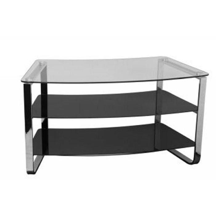 Meuble t l noir verre tremp 39 vera 39 achat vente meuble tv meuble t l noir verre trem - Meuble tv verre trempe noir ...