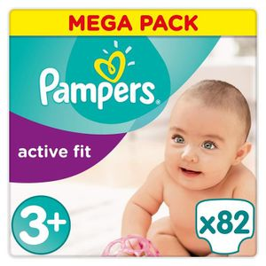 COUCHE PAMPERS Active Fit Taille 3+ - 5 à 10 kg - 82 couc