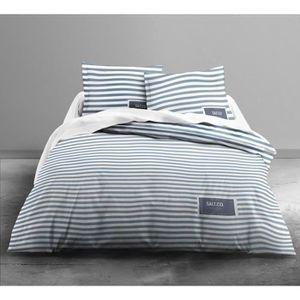 FINLANDEK Parure de couette Leea Salt 100% coton - 1 housse de couette 240x260 cm + 2 taies 63x63 cm bleu et blanc