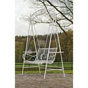balancelle de jardin blanc en fer forg 156 cm achat. Black Bedroom Furniture Sets. Home Design Ideas