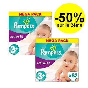 COUCHE PAMPERS Active Fit Taille 3+ - 5 à 10kg - 164 couc