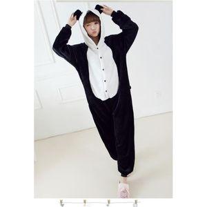 pyjama combinaison femme panda animation noir chaud d 39 hiver noir achat vente chemise de nuit. Black Bedroom Furniture Sets. Home Design Ideas