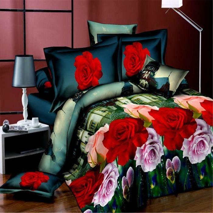 parure de couette parure de lit villes avec des roses rouges motif 1 housse de couette 220x240. Black Bedroom Furniture Sets. Home Design Ideas