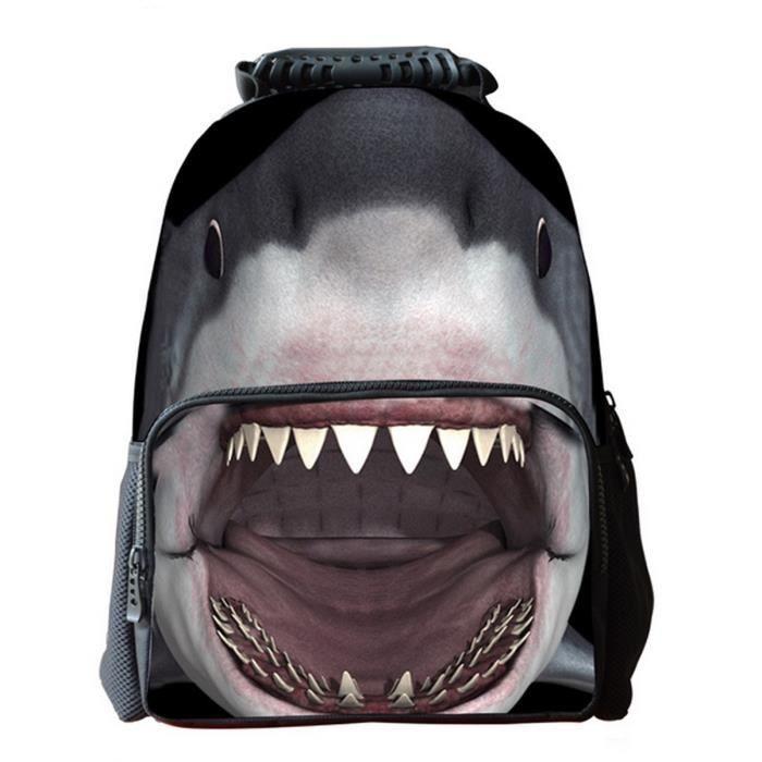 demarkt sac dos en toile en forme de requin pour cole. Black Bedroom Furniture Sets. Home Design Ideas