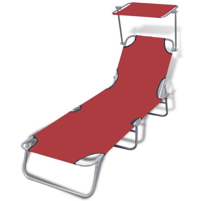 Transat pliable avec pare soleil rouge 2202064 achat for Chaise longue avec pare soleil
