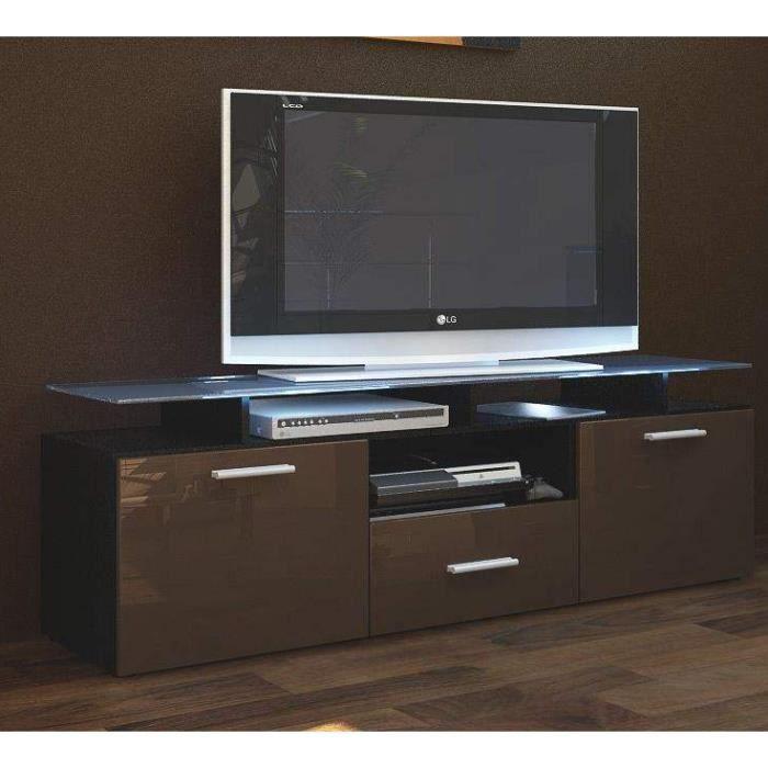 Meuble noir laqu meuble t l noir laqu falco meubles tv for Meuble tele noir