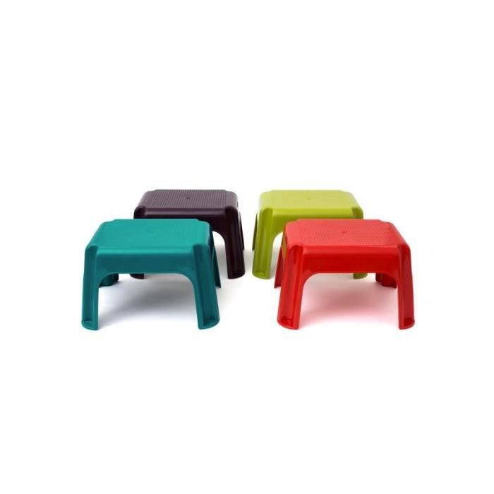 Tabouret marche pied table basse de jardin rouge achat - Table basse avec tabouret ...