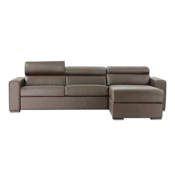 Canap lit d 39 angle omega vrai cuir taupe 120x190 achat for Canape d angle cuir taupe