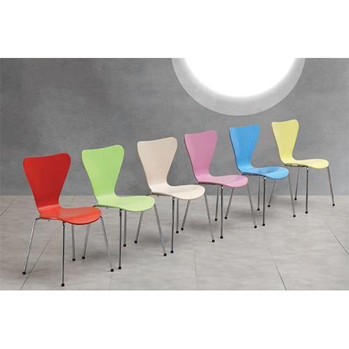 Coffee chaise design en bois jaune achat vente for Chaise jaune design