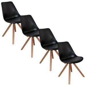 chaise blanche pied noir achat vente chaise blanche pied noir pas cher cdiscount. Black Bedroom Furniture Sets. Home Design Ideas