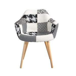 CHAISE Chaise Anssen patchwork grise