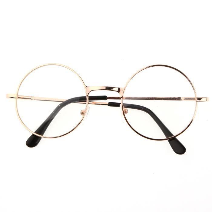 mode 1x lunette avec verre rond m tal dor lentille transparente achat vente lunettes de vue. Black Bedroom Furniture Sets. Home Design Ideas