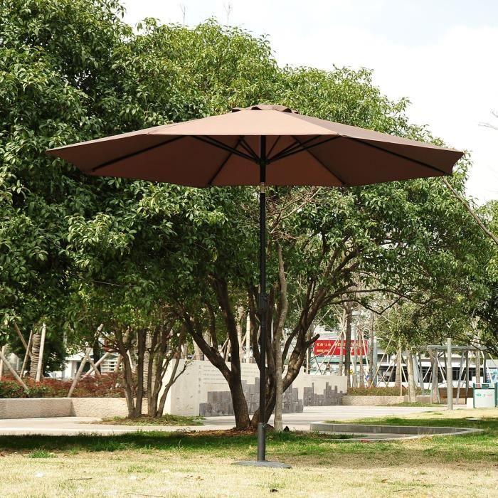 parasol de jardin rond en aluminium avec manivelle inclinable achat vente parasol ombrage. Black Bedroom Furniture Sets. Home Design Ideas