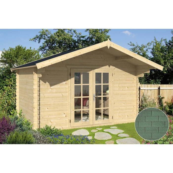Abri de jardin en bois ancenis bardeau droit vert achat vente abri jardin chalet abri de - Abri jardin vert orleans ...