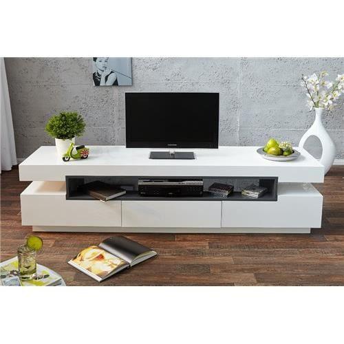Meuble tv design mamout gris et blanc achat vente for Meuble tv gris et blanc