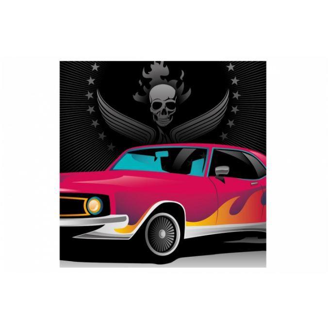 tableau rock voiture et t te de mort 60x60 cm achat. Black Bedroom Furniture Sets. Home Design Ideas