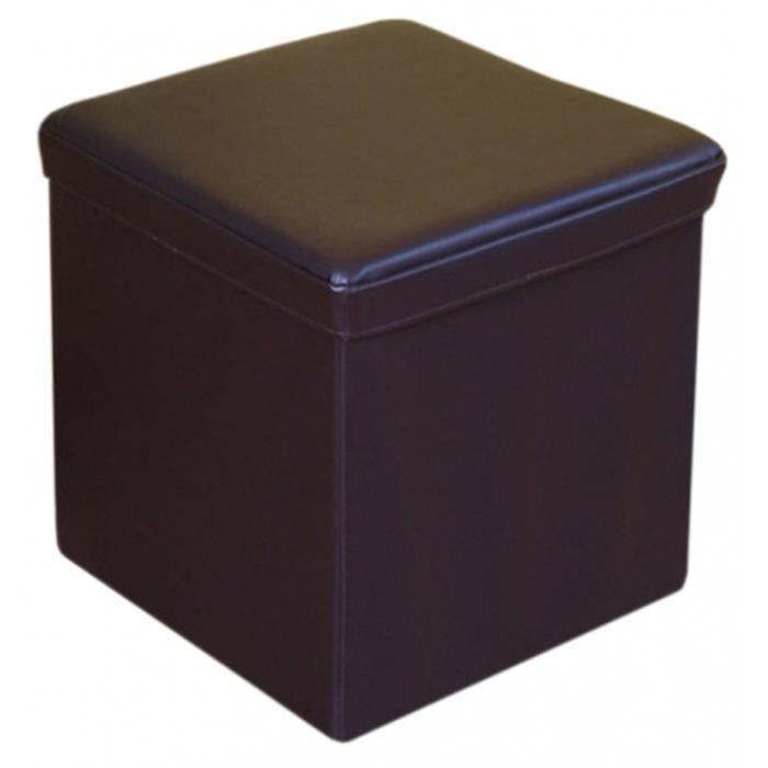 pouf bo te de rangement en cuir coloris brun h achat vente pouf poire cuir plastique. Black Bedroom Furniture Sets. Home Design Ideas