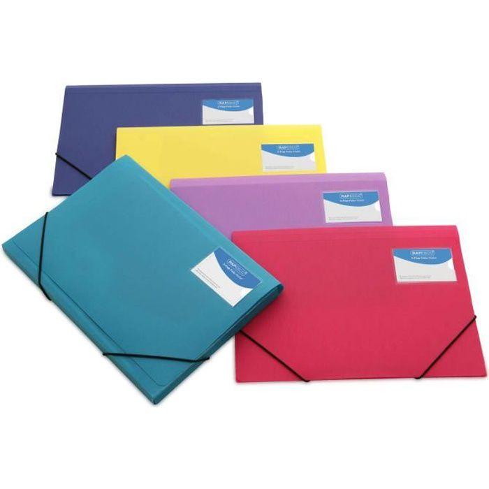 pqt de 5 porte documents a4 3 rabats couleurs vives opaques achat vente pochette plastique. Black Bedroom Furniture Sets. Home Design Ideas