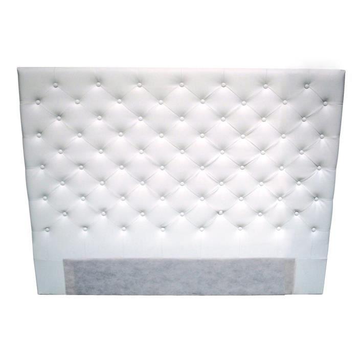Doma t te de lit 160 cm en simili boutons blanc achat vente t te de l - Tete de lit blanc 160 ...