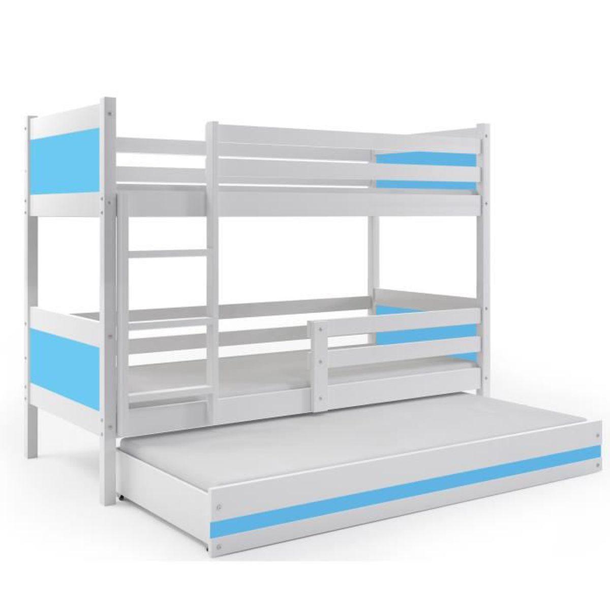 Lit superpos 3 places rino 190x80 blanc bleu couleurs mdf avec sommiers et m - Lit 2 places avec sommier et matelas ...