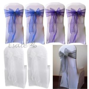 tulle noeud ruban 25x organza noeud chaise blanc pour mariage annive - Noeud En Tulle Pour Voiture Mariage
