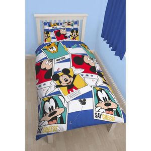 parure de lit mickey achat vente parure de lit mickey pas cher cdiscount. Black Bedroom Furniture Sets. Home Design Ideas