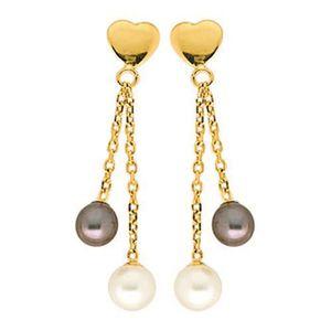 Boucles d'Oreilles Coeur Perles Grise Or Jaune 750