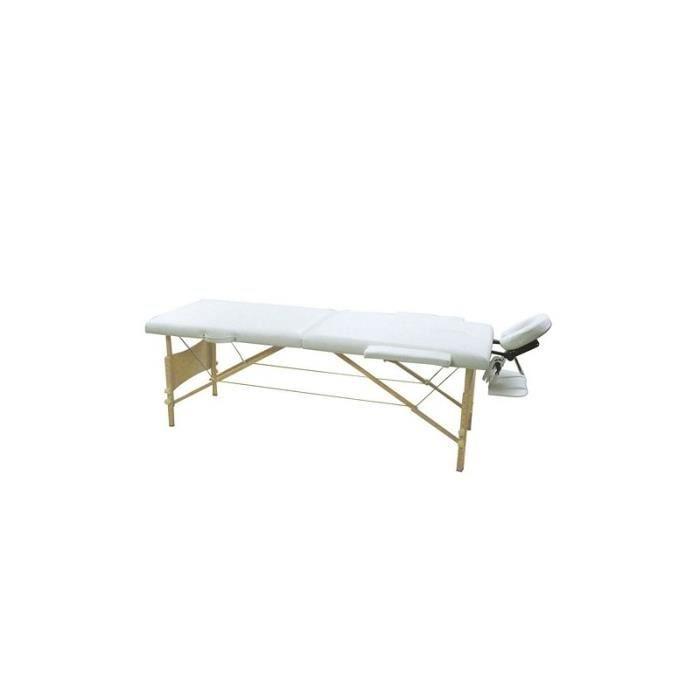 table de massages blanc cr me pliante 2 zones achat. Black Bedroom Furniture Sets. Home Design Ideas