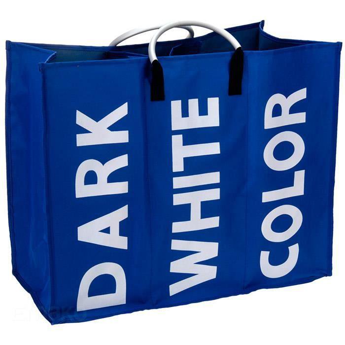 panier linge sale triple 3 compartiments bleu achat vente panier a linge panier. Black Bedroom Furniture Sets. Home Design Ideas