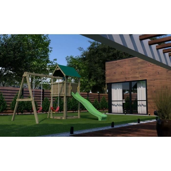 balancoire portiqueen bois aire de jeux pollux pour enfants toboggan balan oire cabane. Black Bedroom Furniture Sets. Home Design Ideas