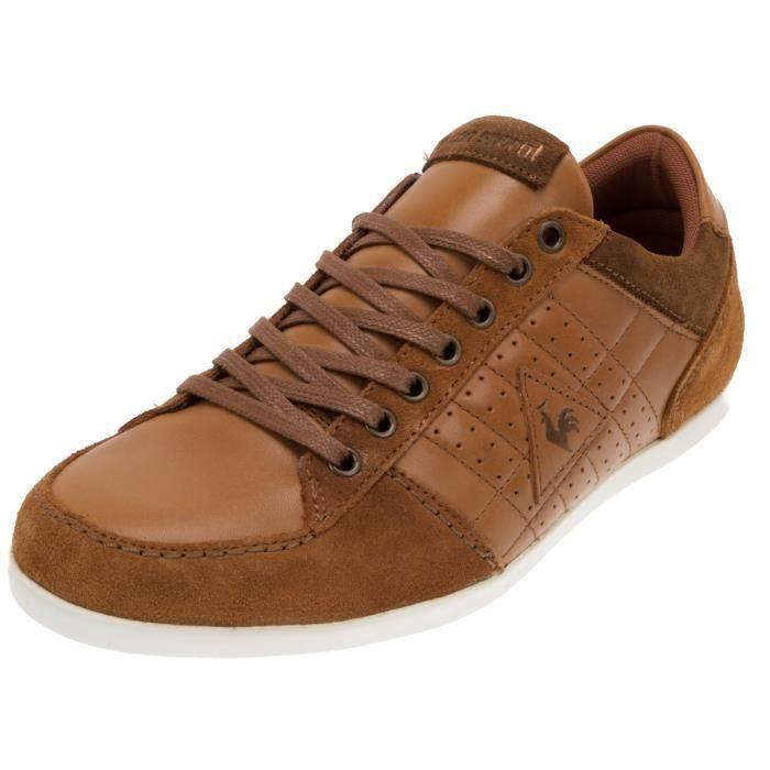 Chaussures basses cuir ou simili ardillon cuir m marron achat vente baske - Simili cuir composition ...