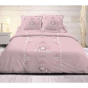 parure de lit rose achat vente parure de lit rose pas cher cdiscount. Black Bedroom Furniture Sets. Home Design Ideas