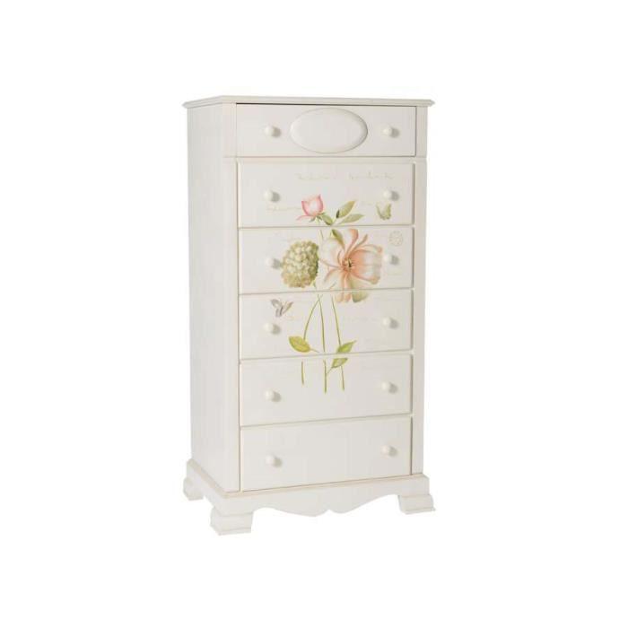 chiffonnier 6 tiroirs creme fleurs dimensions largeur 66 cm profondeur 43 5 cm hauteur. Black Bedroom Furniture Sets. Home Design Ideas