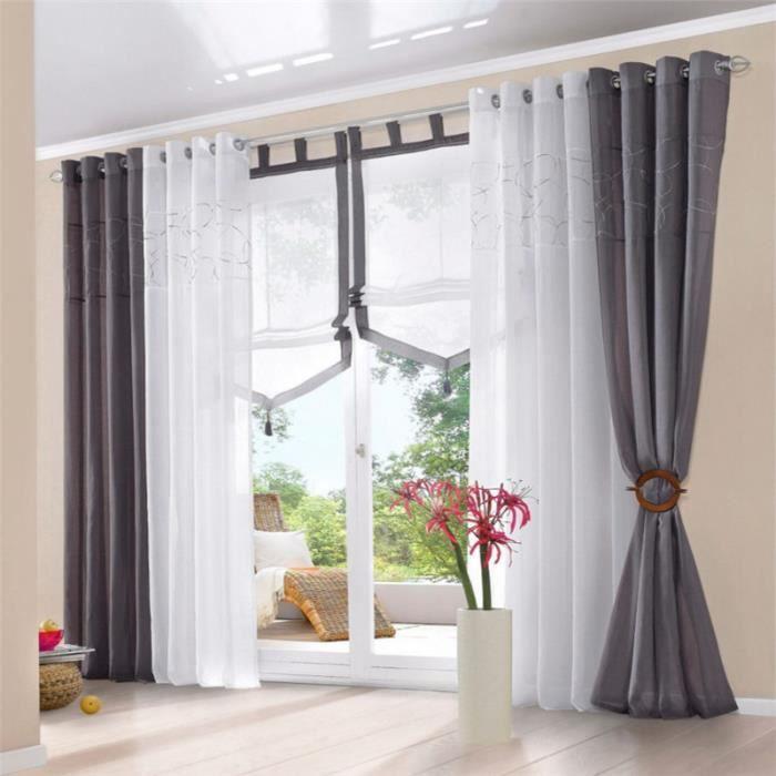 1 pcs rideau de fen tre 140x245cm voilage coton rideau en for Decoration fenetre avec rideau