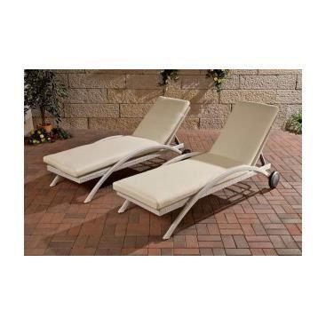 2 transats en resine tress e gaspare blanc achat for Chaise longue en resine blanc