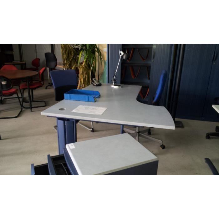 bureau avec retour plateau gris marbre achat vente. Black Bedroom Furniture Sets. Home Design Ideas