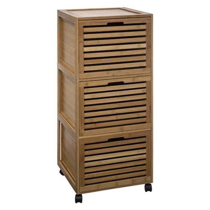Meuble de salle de bain 3 tiroirs bambou achat vente - Meuble salle de bain 4 tiroirs ...