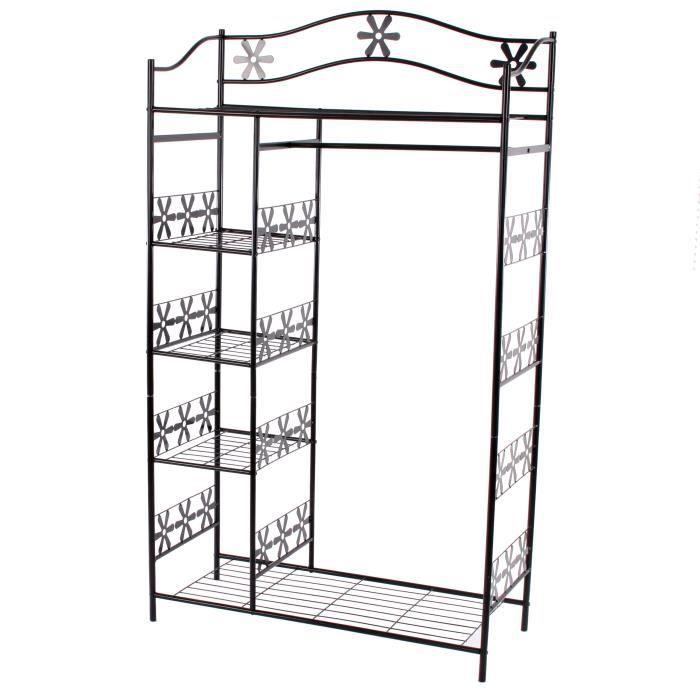 portemanteau garderobe tag re penderie pat re gen ve 100x43x172cm m tal achat. Black Bedroom Furniture Sets. Home Design Ideas