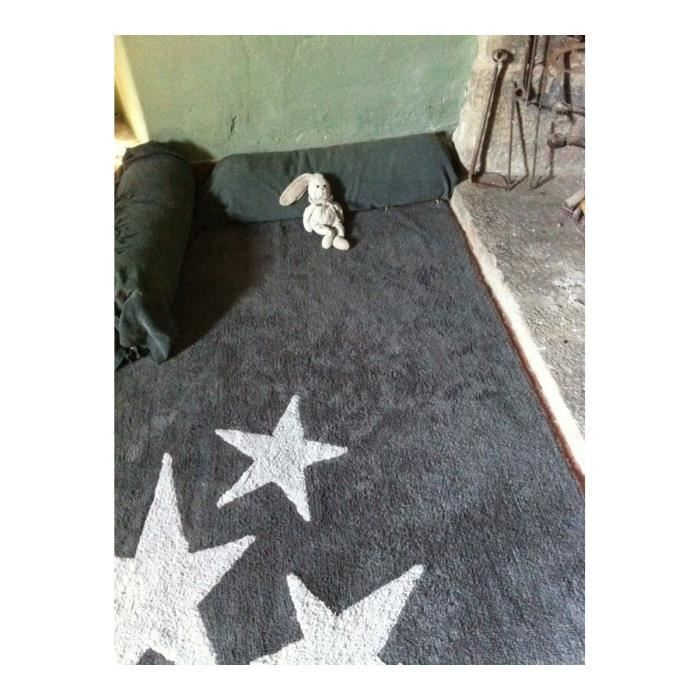tapis lavable en machine enfant en coton gris tres estrellas lorena canals 120x160cm gris. Black Bedroom Furniture Sets. Home Design Ideas