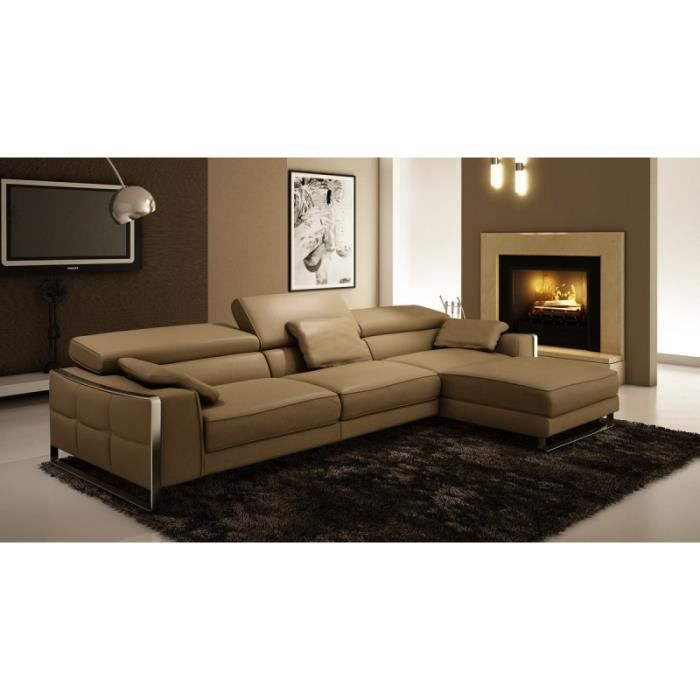 canap d 39 angle design en cuir beige sheyla achat vente canap sofa divan cuir bois. Black Bedroom Furniture Sets. Home Design Ideas
