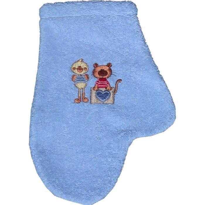 gant de toilette avec pouce tinamis azur bleu achat vente eponge de bain rin age. Black Bedroom Furniture Sets. Home Design Ideas