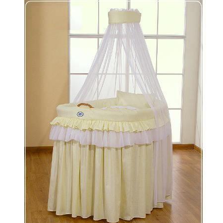 Berceau b b en osier complet avec textile jaune achat vente berceau et s - Berceau bebe cdiscount ...