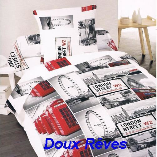 housse couette 240x220 london street 100 polyester 2. Black Bedroom Furniture Sets. Home Design Ideas