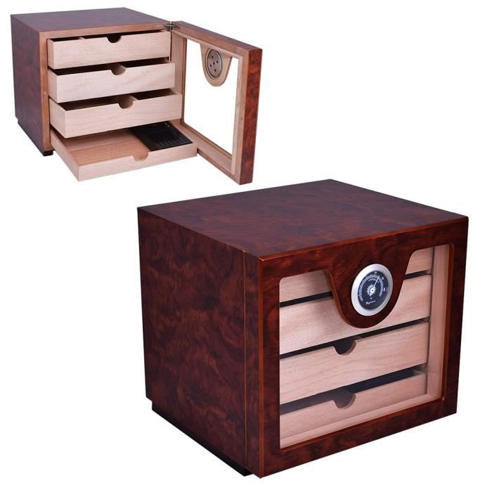 cave cigare 120 cigares 4 tiroirs cubus bois achat. Black Bedroom Furniture Sets. Home Design Ideas
