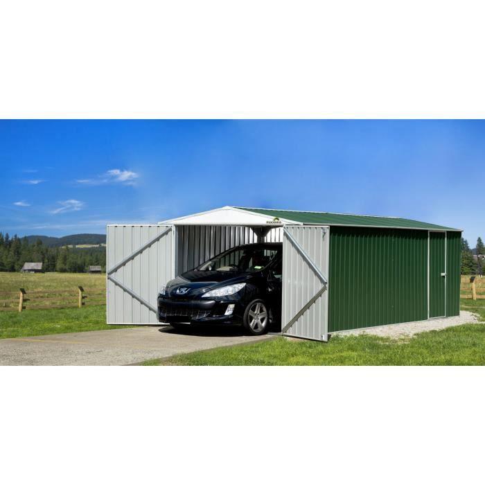 Abri de jardin metal absco garage metal cn 18 m2 achat for Abri garage metal