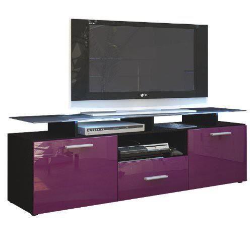 meuble tv noir mat et m re laqu avec led 146 cm achat. Black Bedroom Furniture Sets. Home Design Ideas