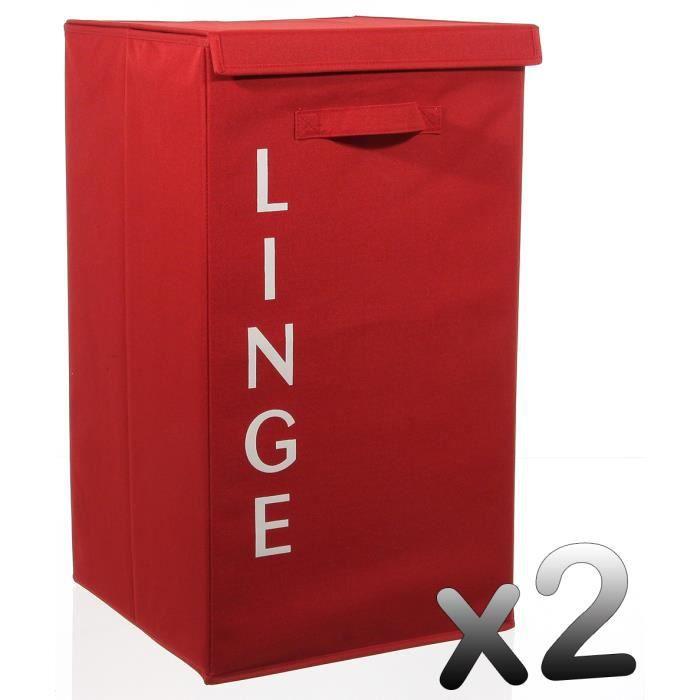Lot de 2 paniers linge rouge hauteur 65 x pr achat for Rangement linge de maison